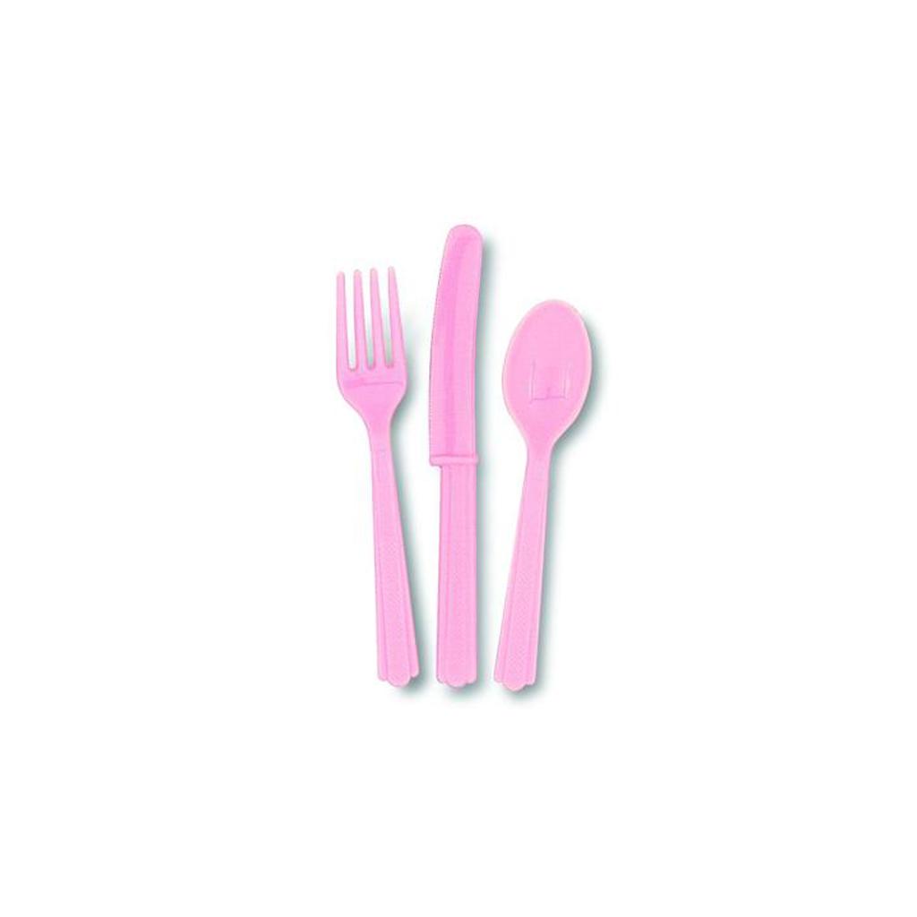 """Plastový príbor """"ružový"""", 18ks"""
