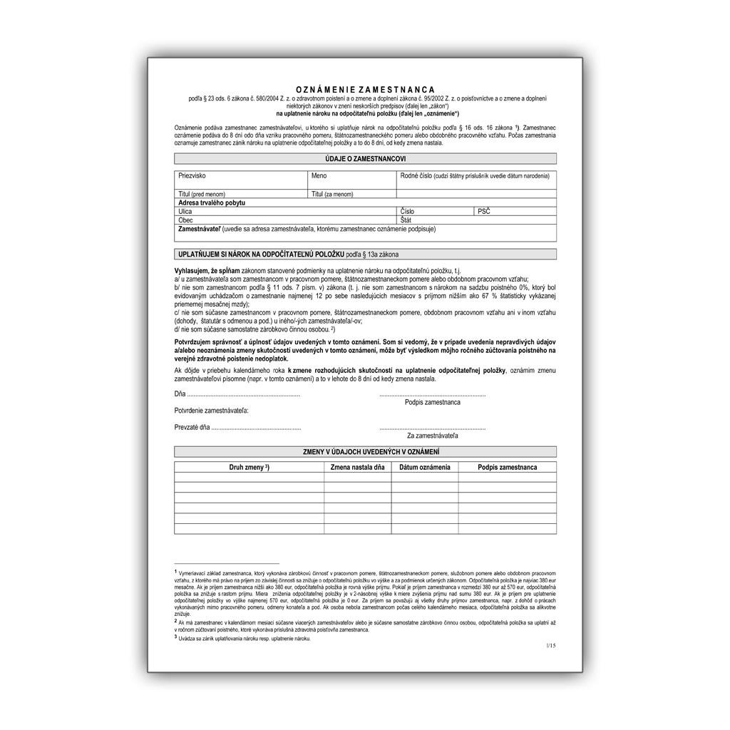 Oznámenie zamestnanca na uplatnenie nároku na odpočítateľnú položku