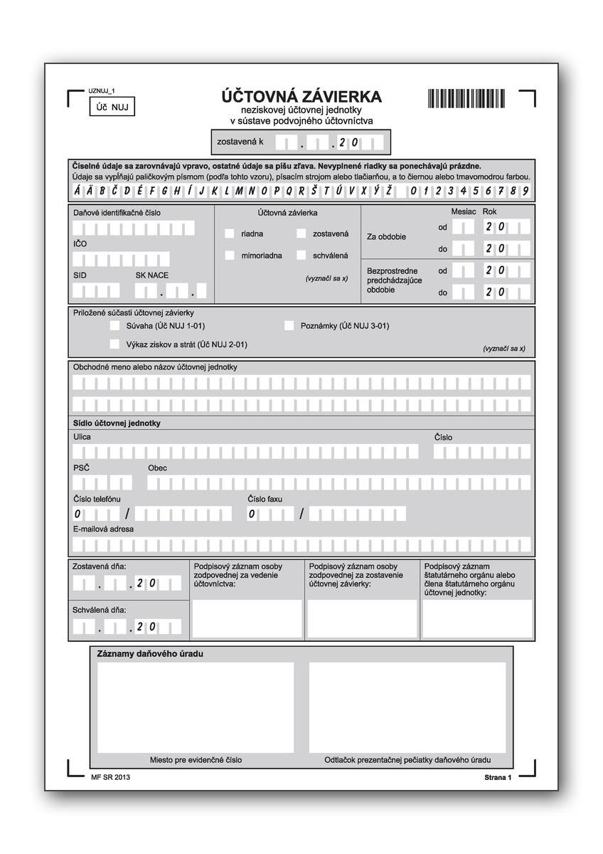 Účtovná závierka neziskovej účtovnej jednotky v sústave podvojného účtovníctva Úč NUJ 1-01, Úč NUJ 1-02