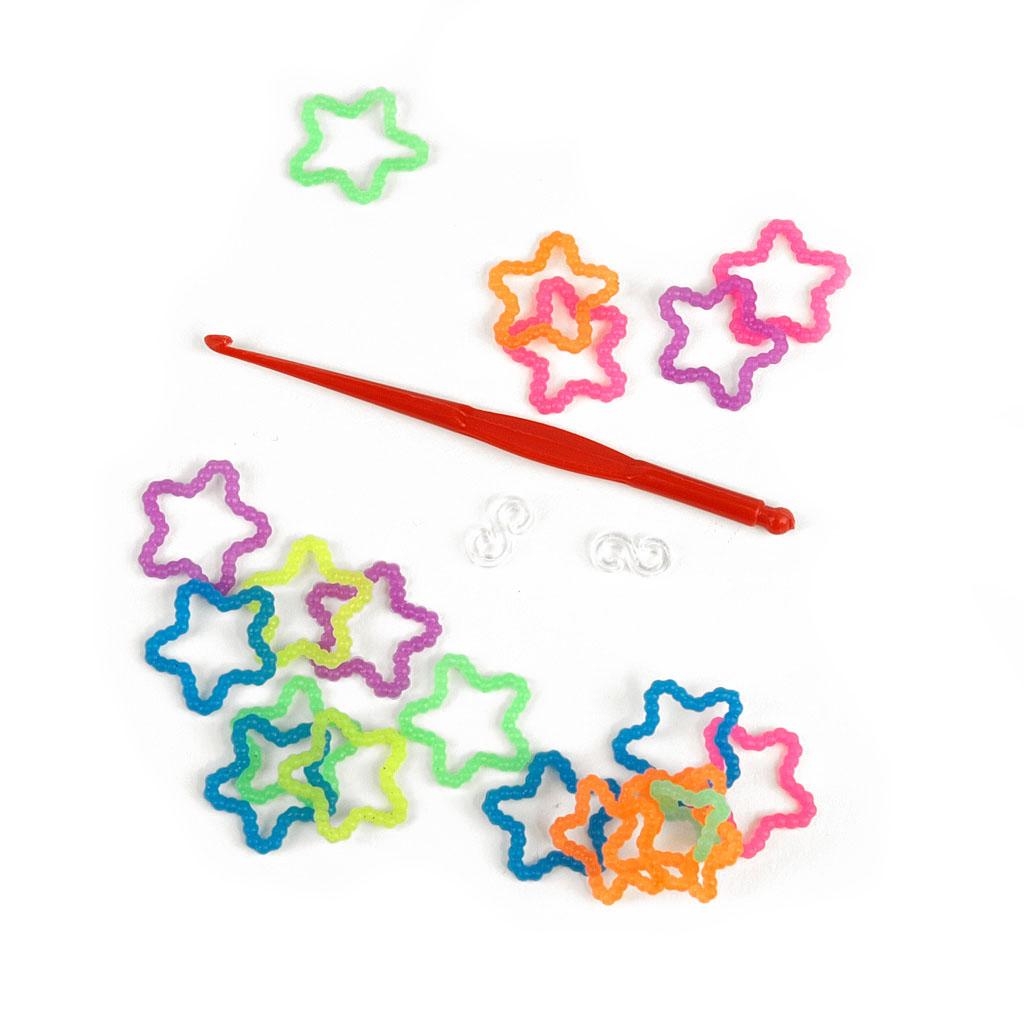 Gumičky na zapletanie hviezda 100 ks + 10 ks spojovacích  klipov + 1 háčik