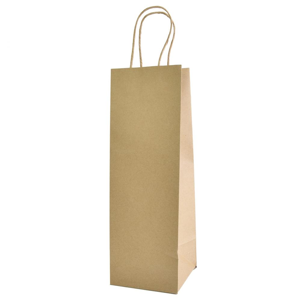 Papierová taška na víno, 11,46x34,3x11,3cm, natur