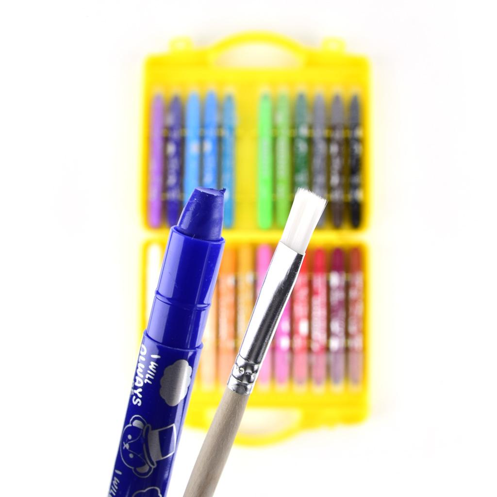 M&G Farbičky voskové gelové, vysúvateľné  / 24 ks, akvarel + štetec
