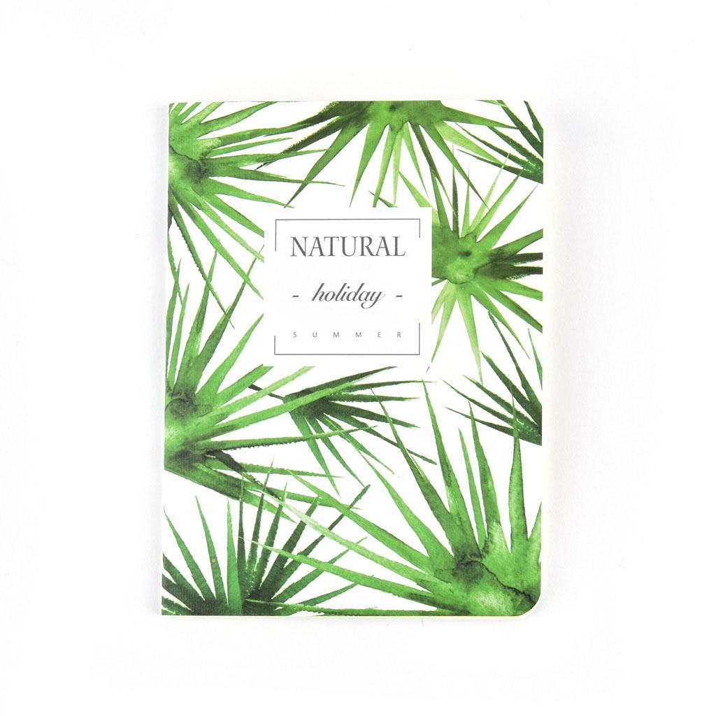 """Zápisník 105x142mm, 48 l. - """"Zelené listy"""" mix motívov"""