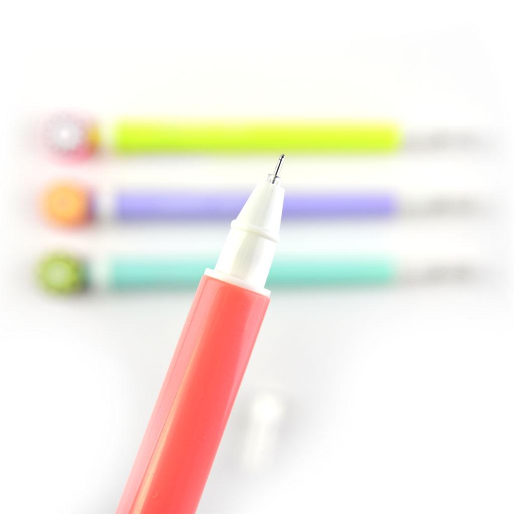 """Pero gelové 0,5 mm svietiace, čierna náplň, """"ovocie"""", mix farieb"""