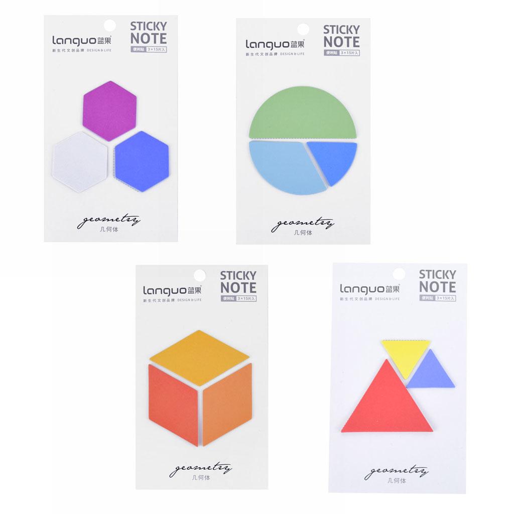 Samolepiace bločky, geometrické tvary, 3x15l., mix motívov