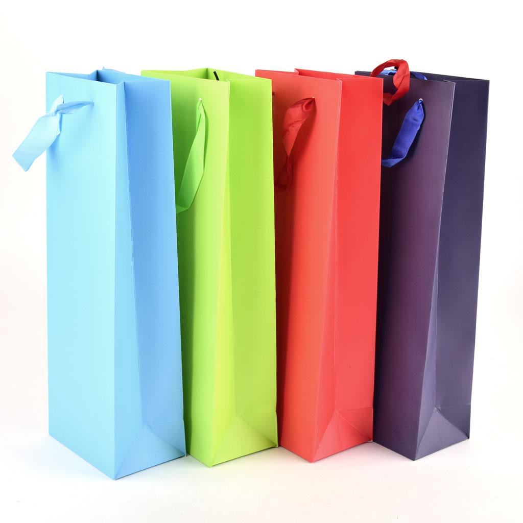 Darčeková taška jednofarebná na fľašu, mix farieb