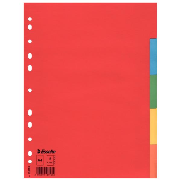 Register kartónový Esselte Economy , A4, 5-farebný