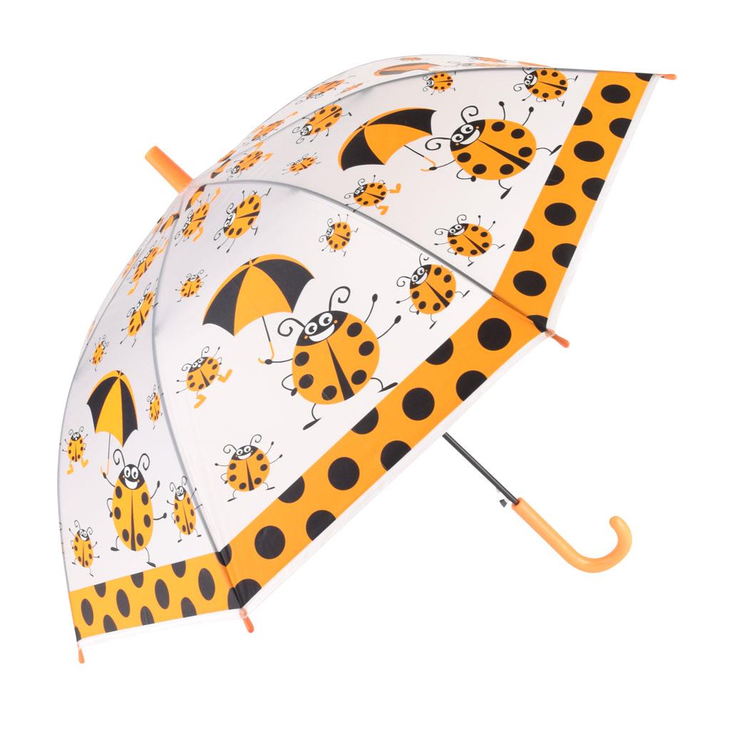 Dáždnik detský, priehľadný, oranžová, lienka