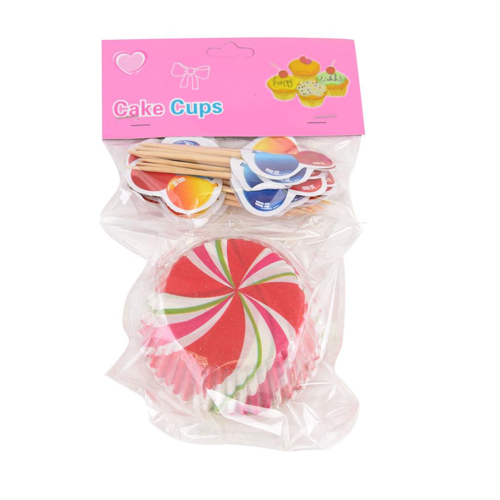 Košíčky farebné s vlajkami,24 ks, priemer 5cm - mix 6 farieb