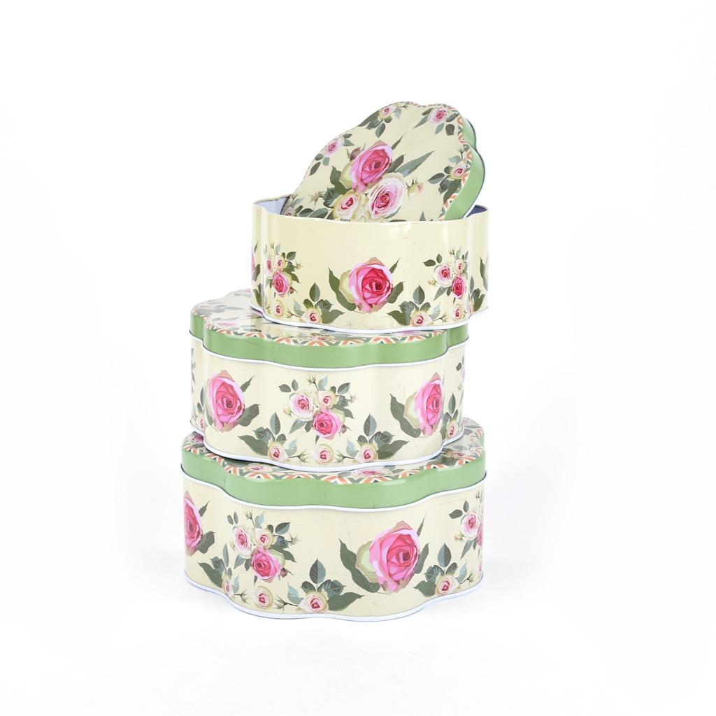 Kovová dóza, rozmer 15,7x6,9cm, set 3v1, kvet, ruže, mix farieb