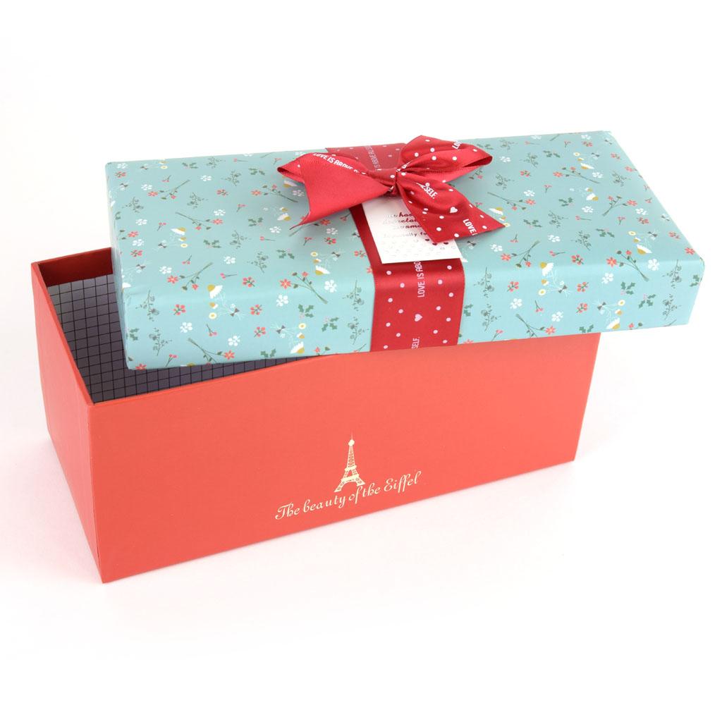 Papierová krabica 25,5x12x11,5 cm,Eiffelova veža, bordová mašľa
