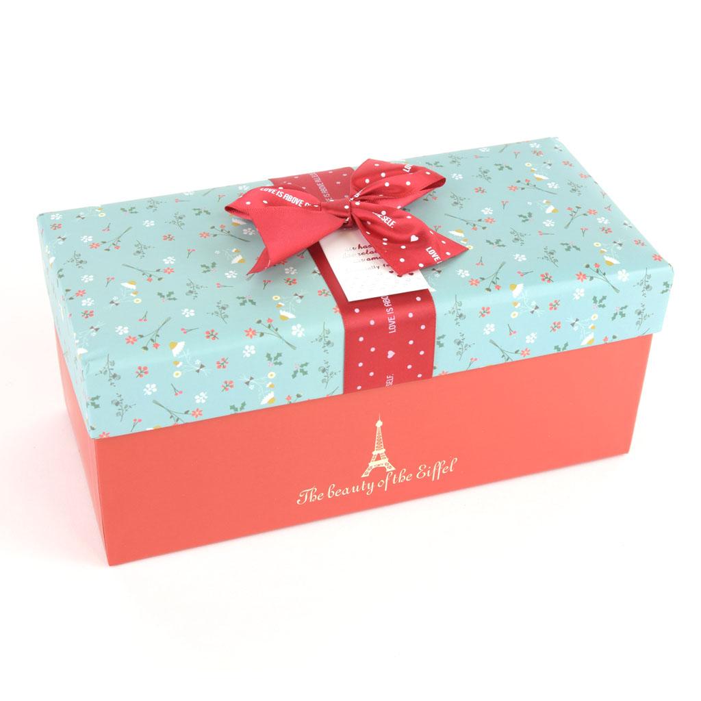 Papierová krabica 21x9x9 cm, Eiffelova veža, bordová mašľa
