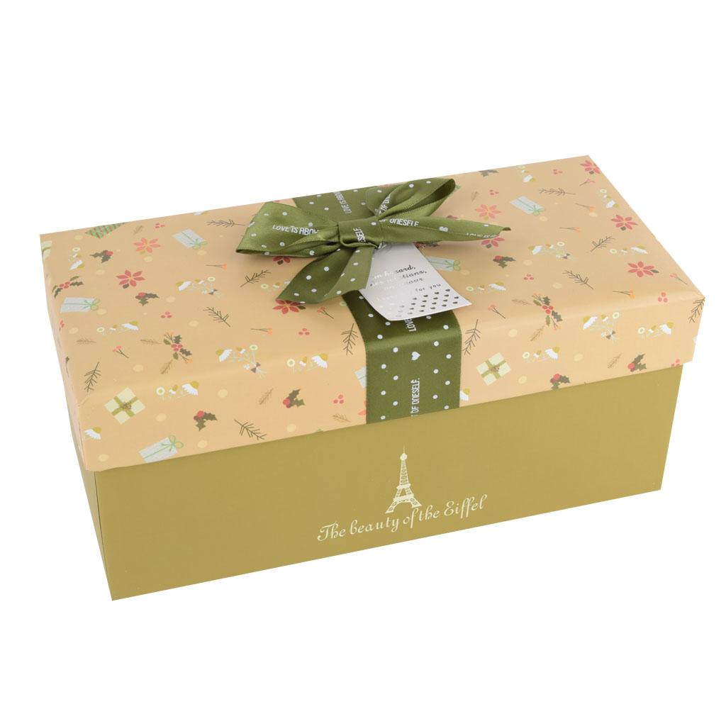 Papierová krabica 30x14,5x13,5 cm, Eiffelova veža, zelená mašľa