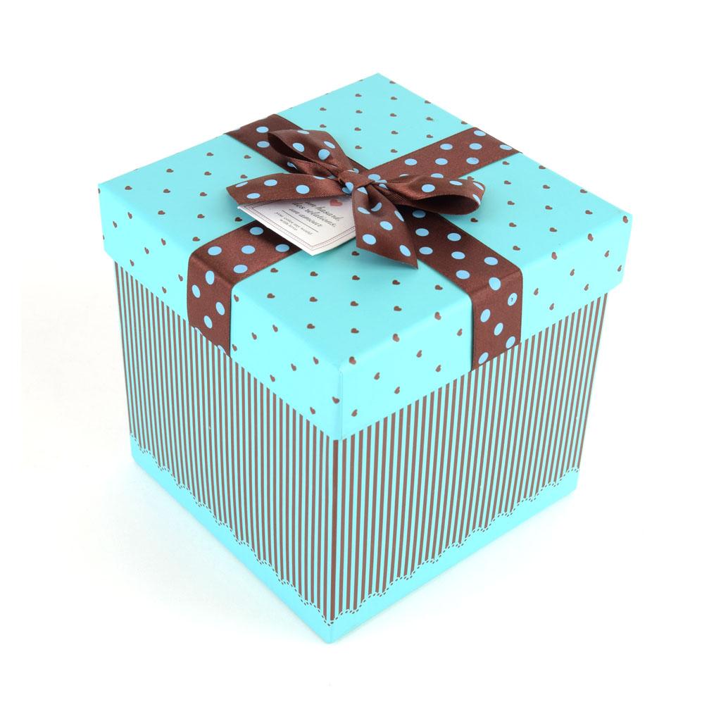 Papierová krabica 14,5x14,5x14,5 cm,tyrkysová, hnedá mašľa