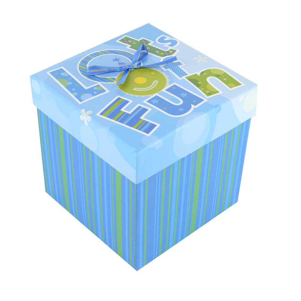 Papierová krabica 14,5x14,5x14,5 cm, modrá, Lots of Fun