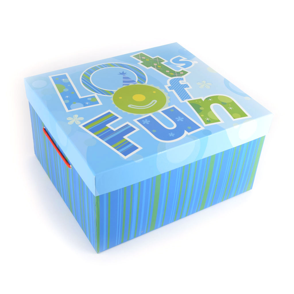Papierová krabica 24x18x13,5 cm, modrá, Lots of Fun