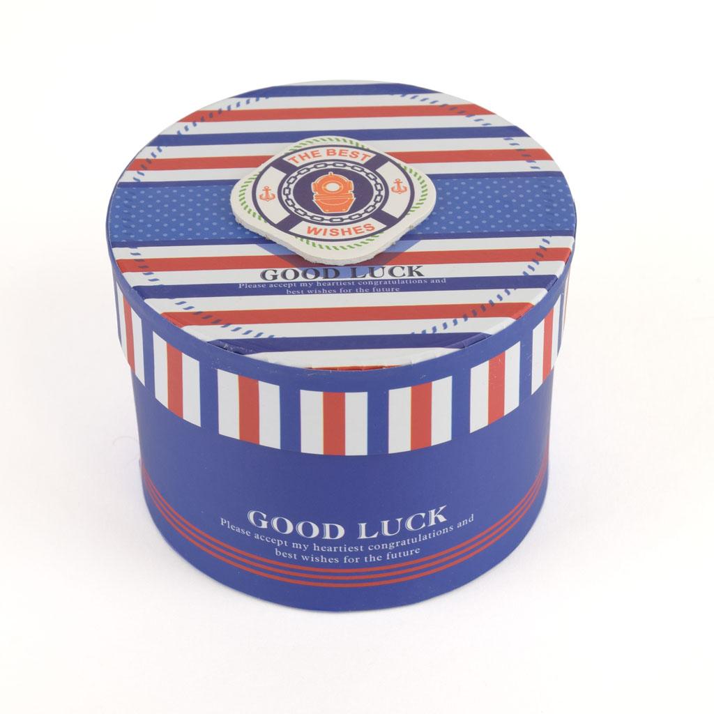 Papierová krabica 11,5x8,5 cm, modrá modrý pás, GOOD LUCK