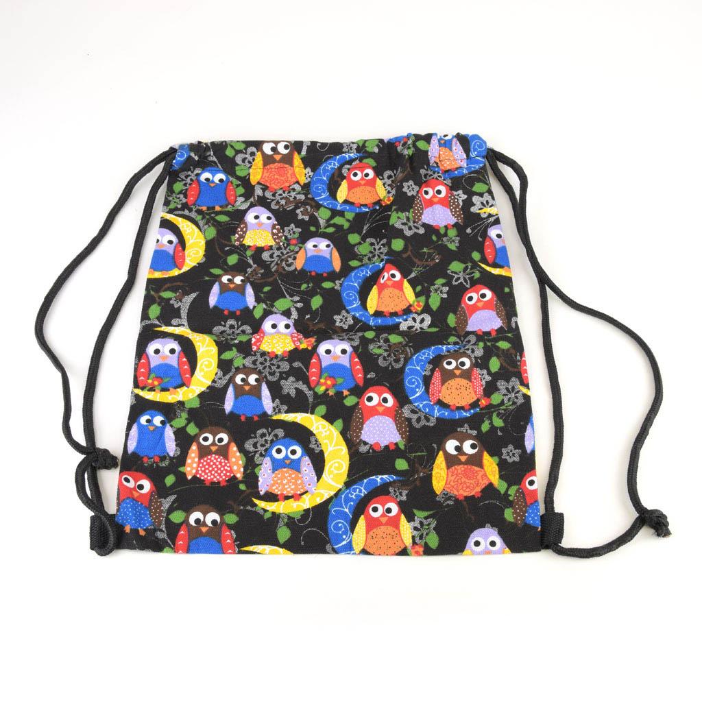 Textilné vrecko na prezúvky, sovy a mesiac