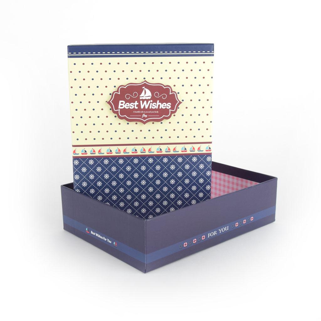 Papierová krabica 28,7x20,8x9 cm, modrá s bielymi guľočkami