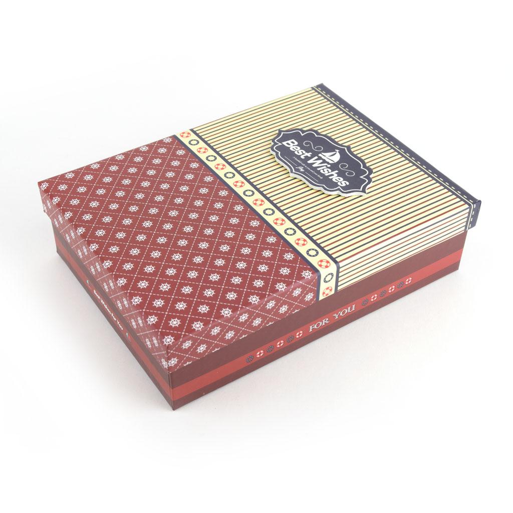 Papierová krabica 26x19x8 cm, bordová s bielymi guľočkami