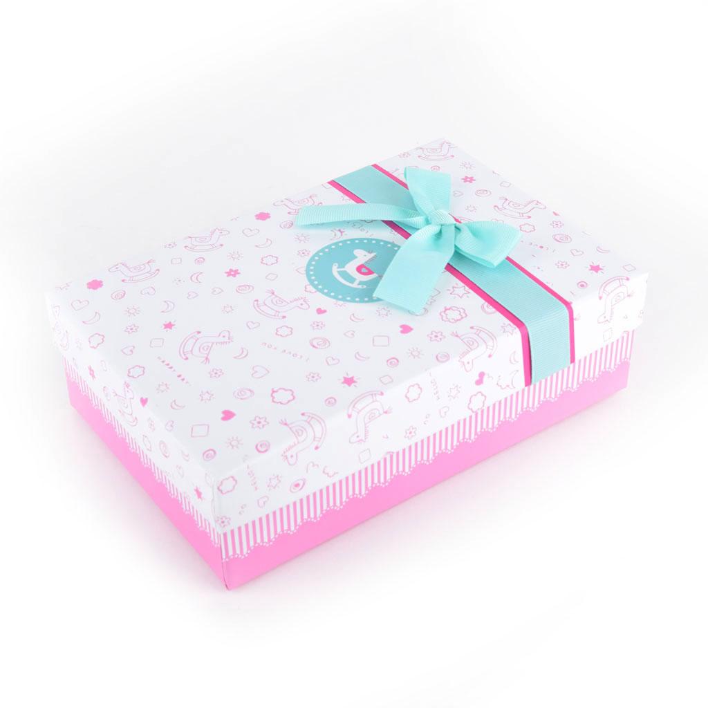 Papierová krabica 25x18x10 cm, biela s modrou mašľou