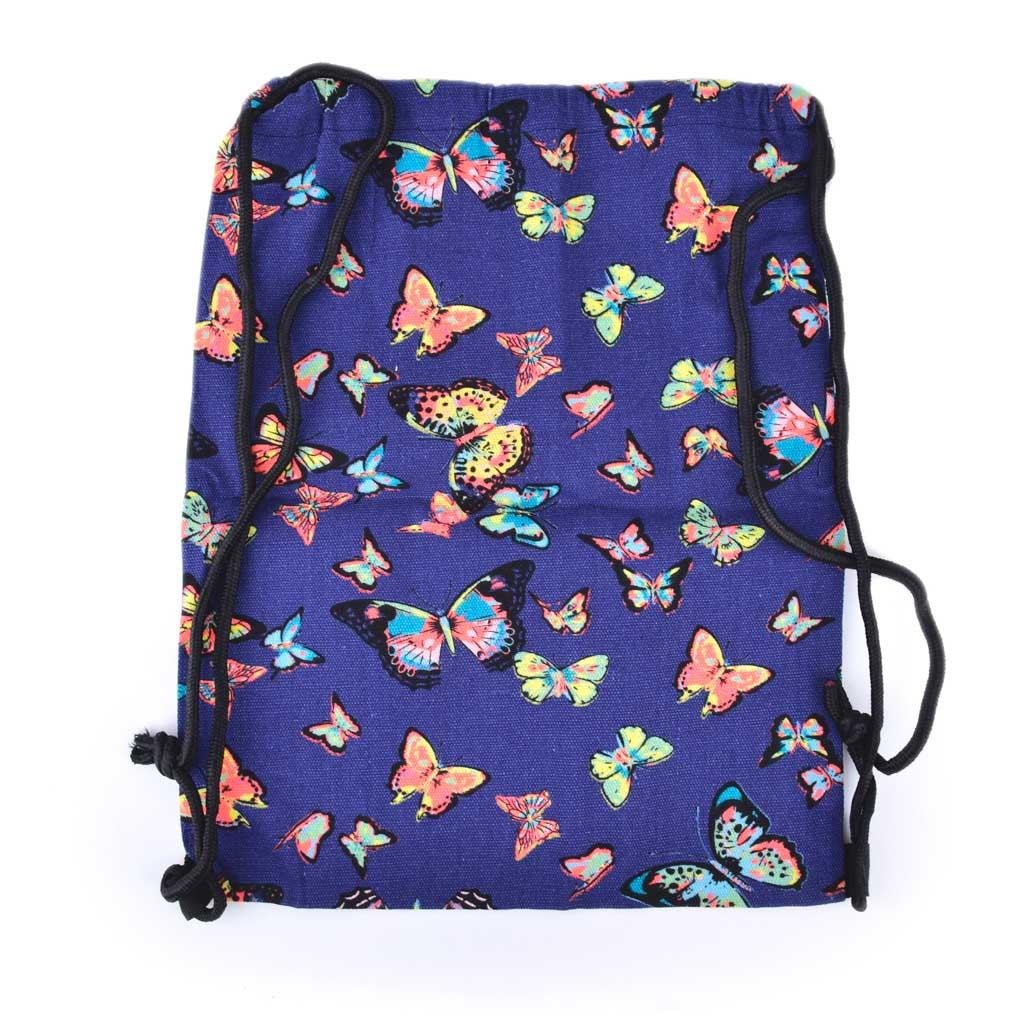 Textilné vrecko na prezúvky, motýľ modrý
