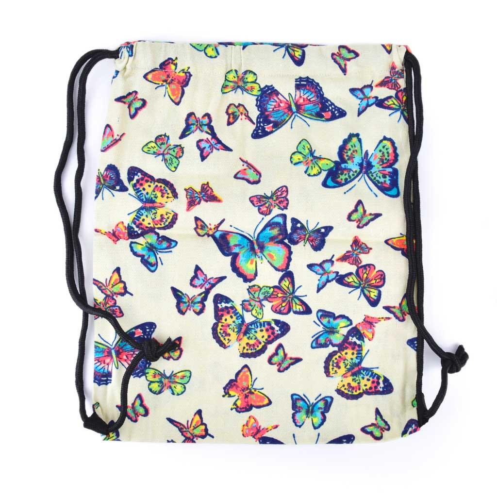 Textilné vrecko na prezúvky, motýľ biely