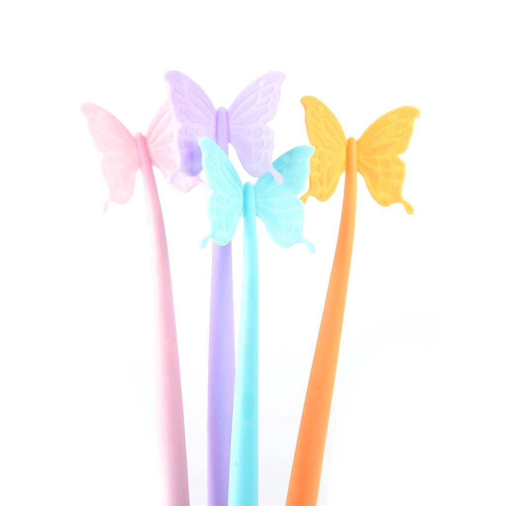 "Pero gelové 0,5 mm, čierna náplň, ""motýľ"", mix farieb"