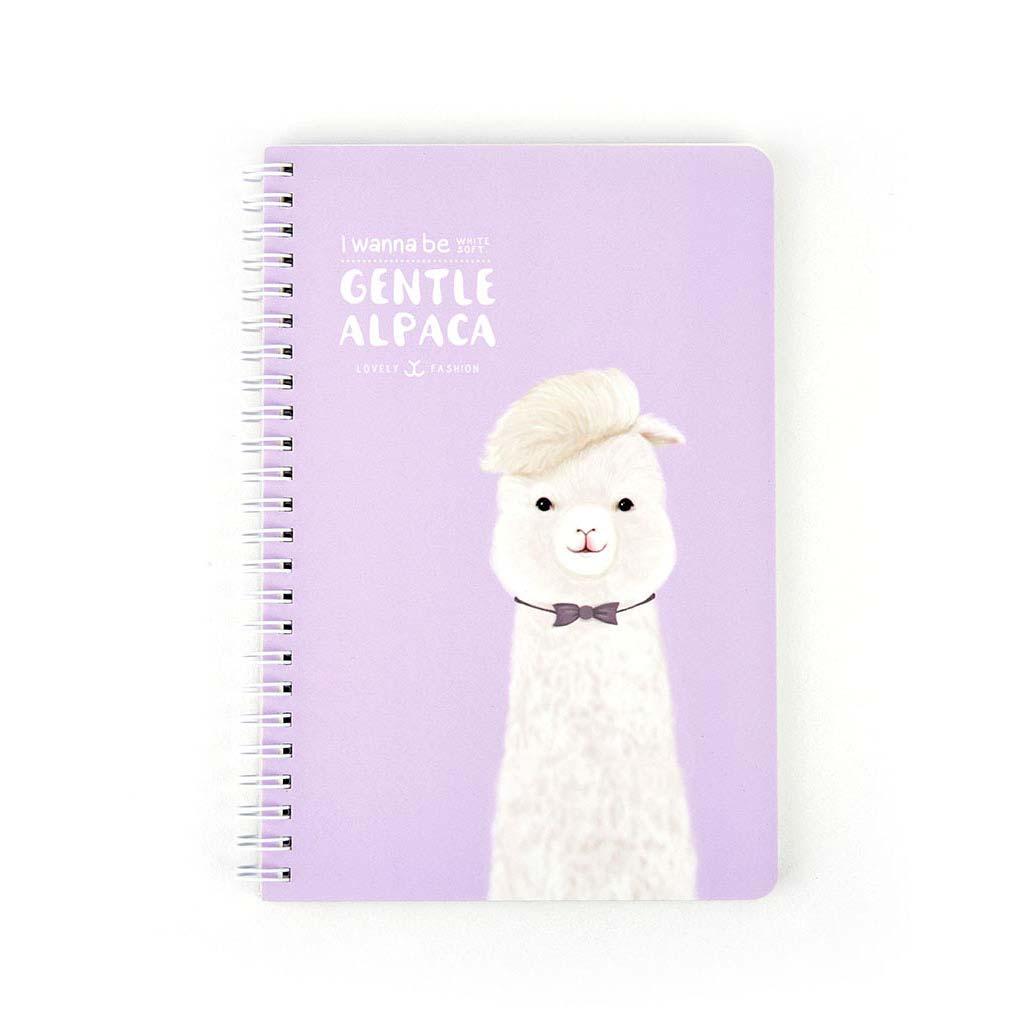 """Nekonečný diár A5, linajkový, 67l., so špirálou po dlh. str. """"Gentle Alpaca"""", mix motívov"""