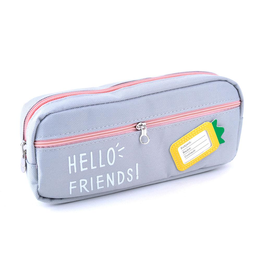 """Peračník 2 zip. prázd. - etue """"Hello friends"""", veľký, mix pastelových farieb"""