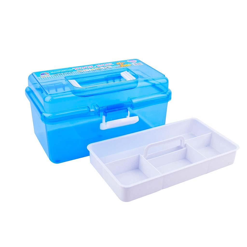 Plastový kufrík, rozkladací, 2-poschodový, mix farieb