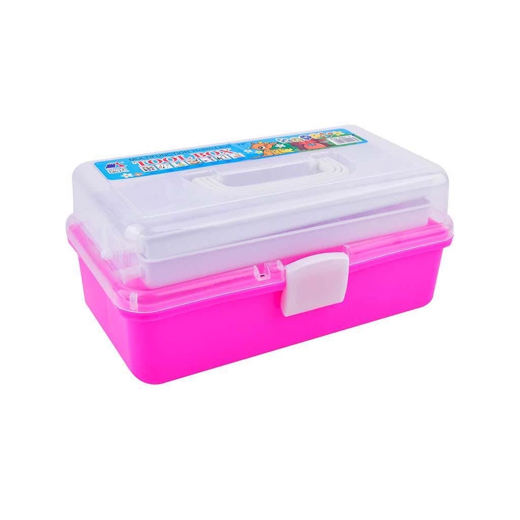 Plastový kufrík, rozkladací, 3-poschodový, mix farieb