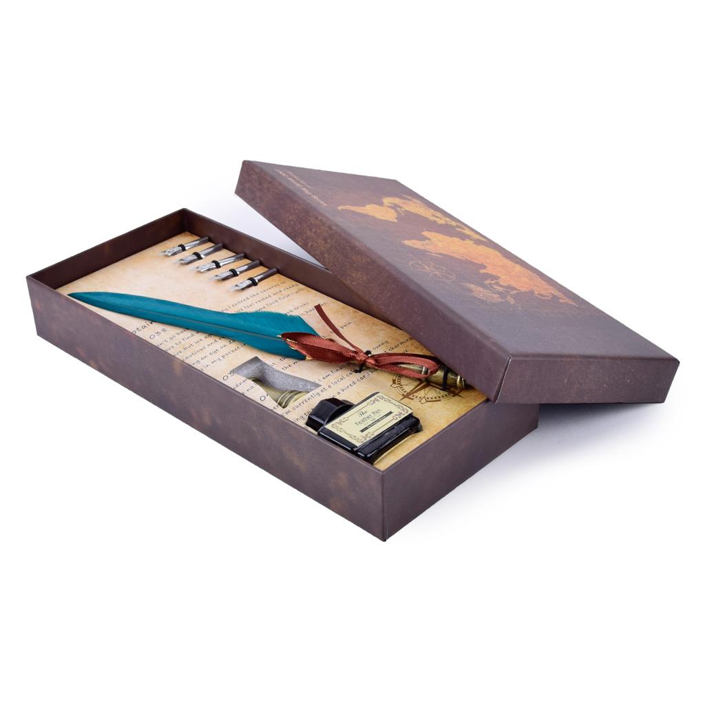 Kaligrafický set s atramentom a náhradnými pierkami, mix farieb
