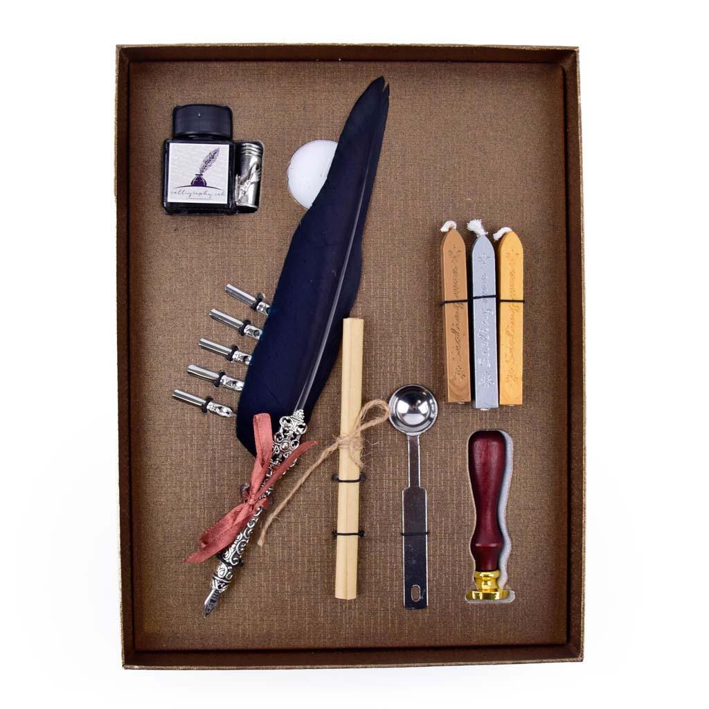 Kaligrafický set s voskom a pečatidlom, mix farieb