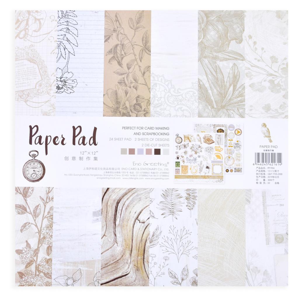 Papier na Scrapbooking, 30,5x30,5cm, 24 listov, natur