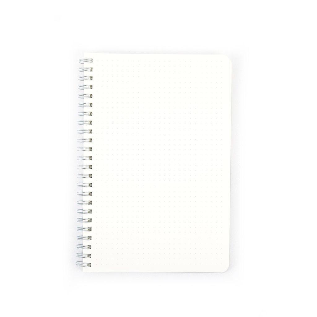Poznámkový blok A5, bodkovaný, 60l., so špirálou po dlh. str.