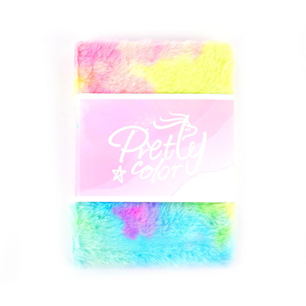 Poznámkový blok 12,8x18,5 cm, mix liniatúr, 128 l., plyšový, mix farieb