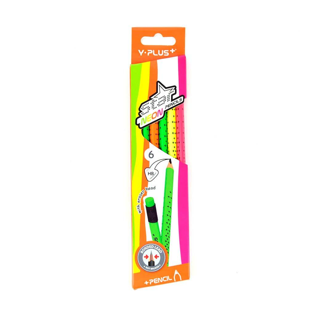 """Ceruzka trojhranná """"Star neon"""" HB s gumou, 6 ks"""