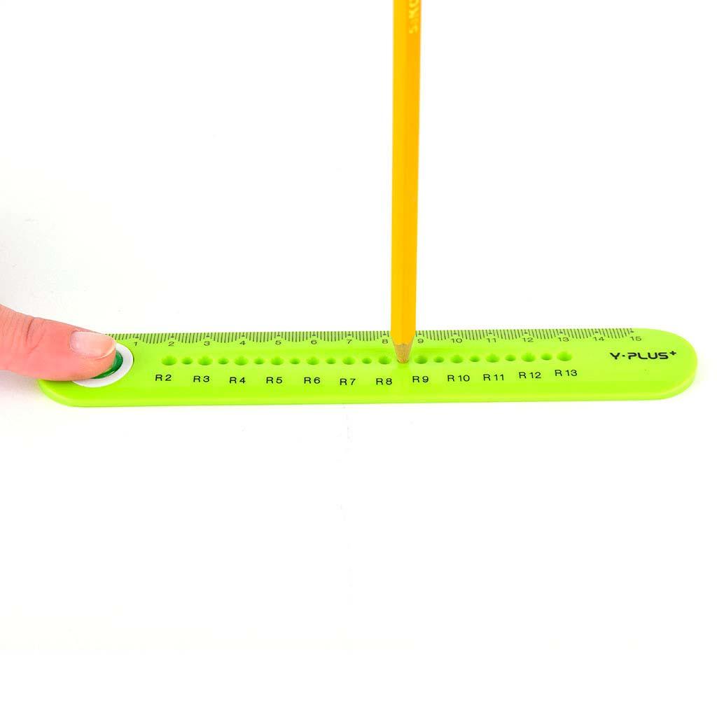 Pravítko otočné 15 cm, s rádiusovou mierkou r2 - r13, mix farieb