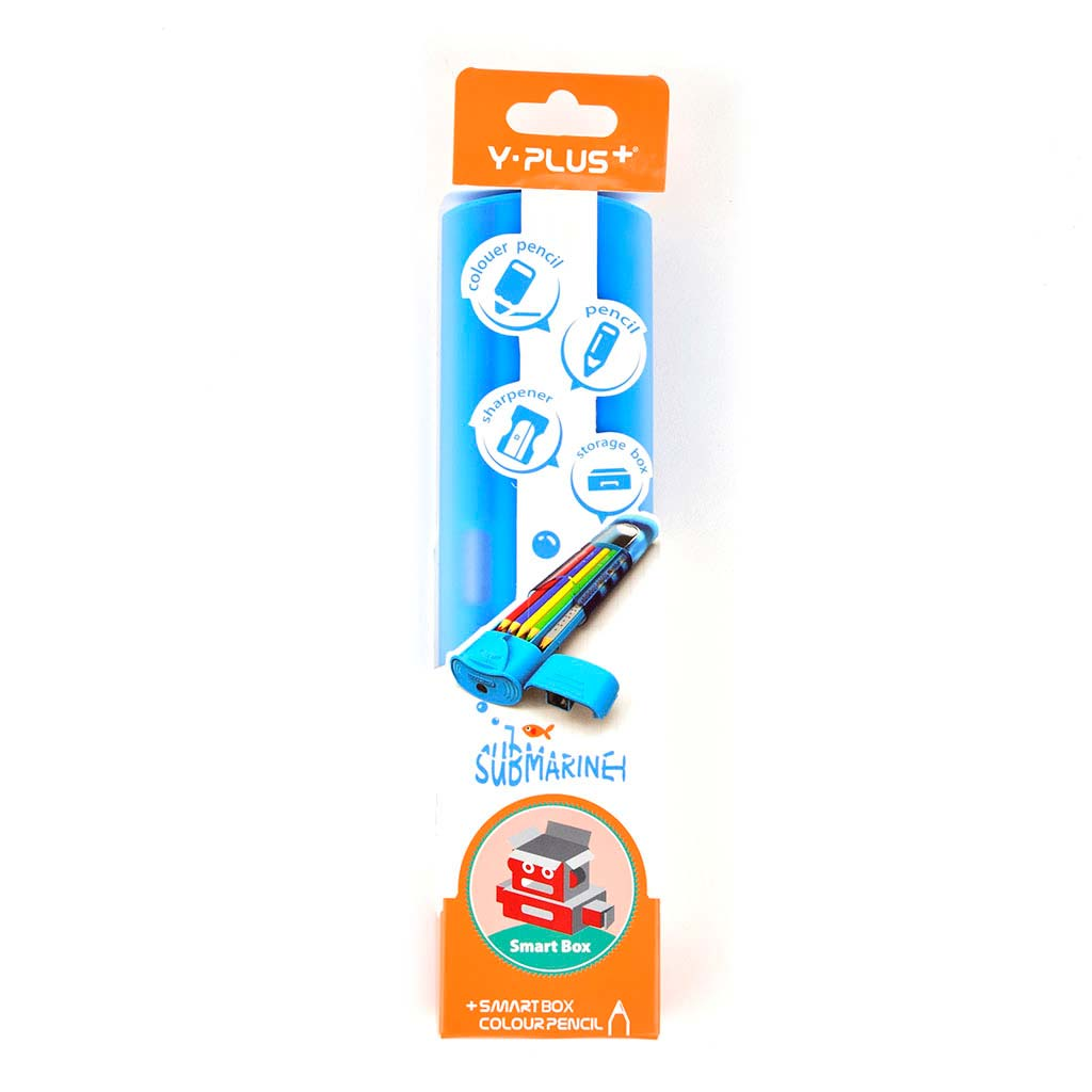 Farbičky trojhranné 12ks + ceruzky s gumou 2ks, v plastovom puzdre so strúhadlom