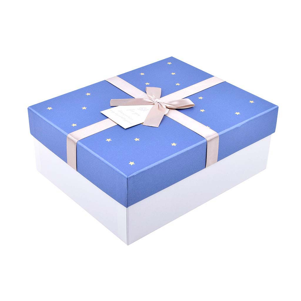 Papierová krabica 17x15x8,5 cm, s modrým vekom a béžovou mašľou