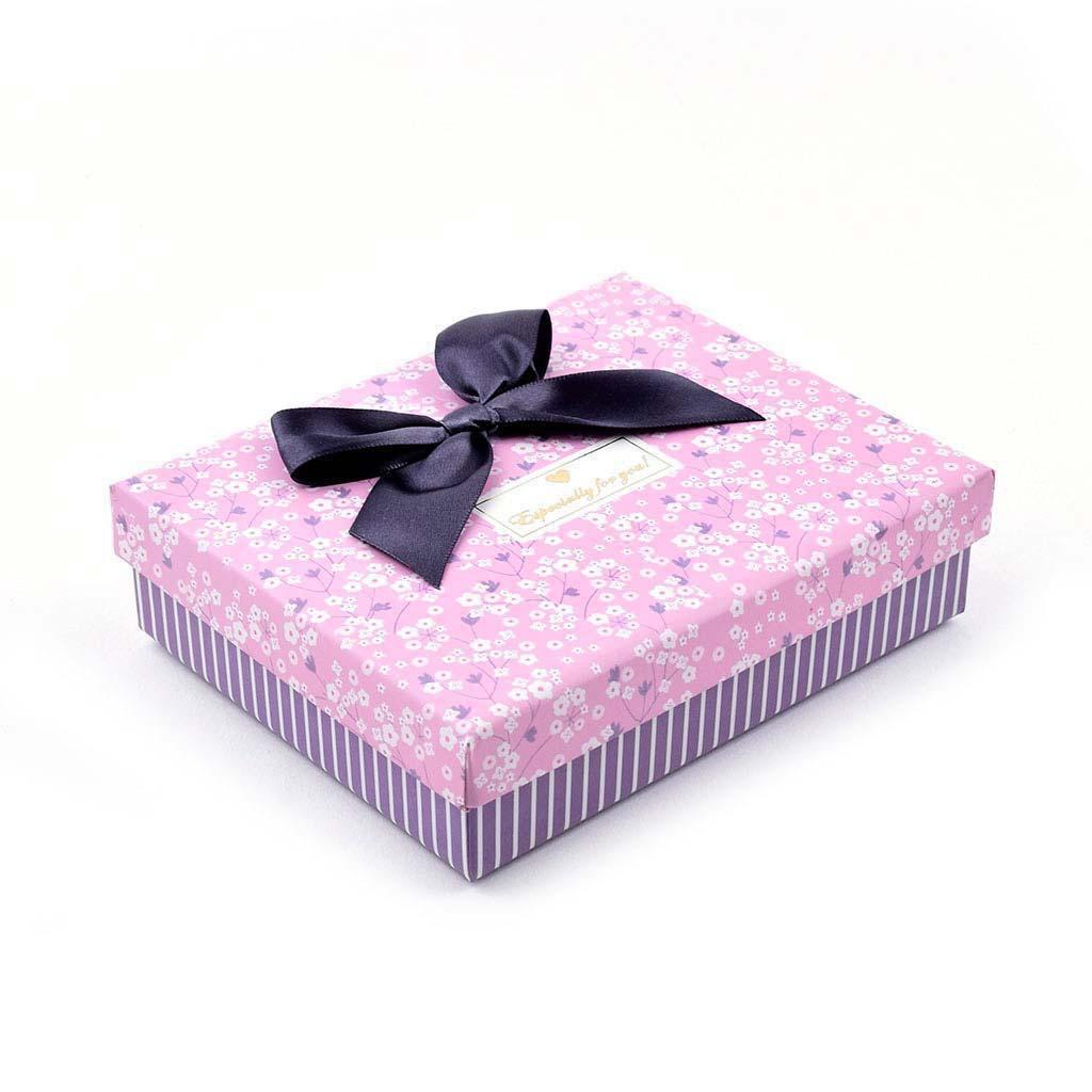 Papierová krabica 15,5x12,5x4,5 cm, ružová s kvietkami