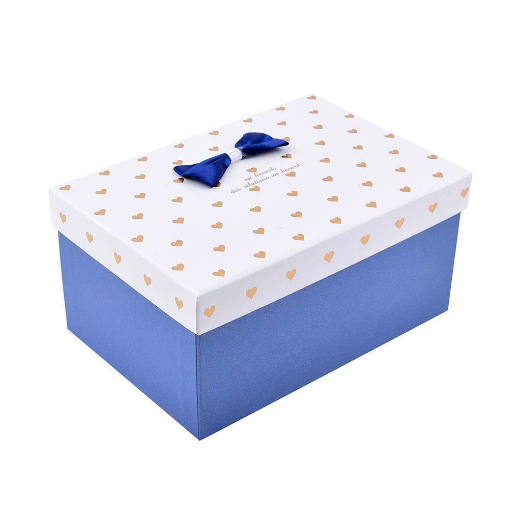 Papierová krabica 22x15x11 cm, s bielym vekom a zlatými srdiečkami