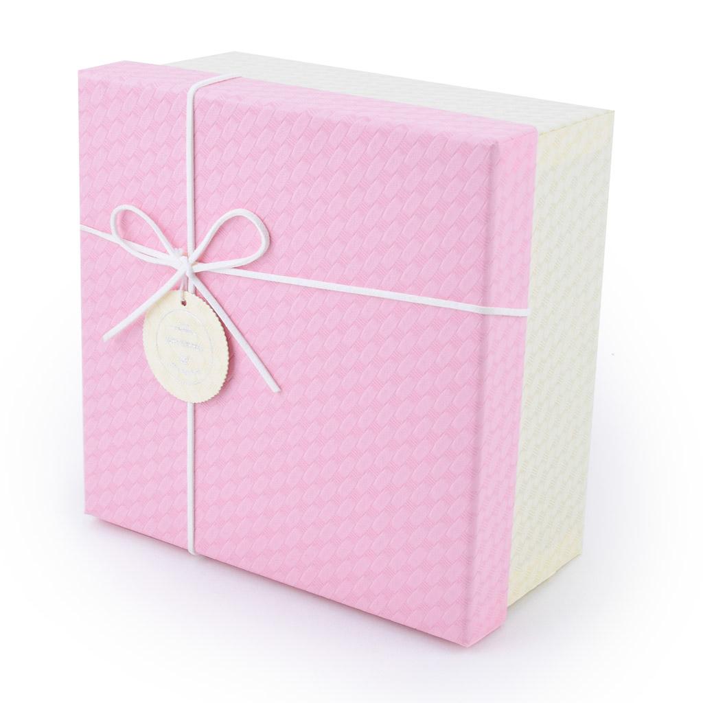 Papierová krabica 15x15x6,5 cm, ružovo-smotanová s mašľou