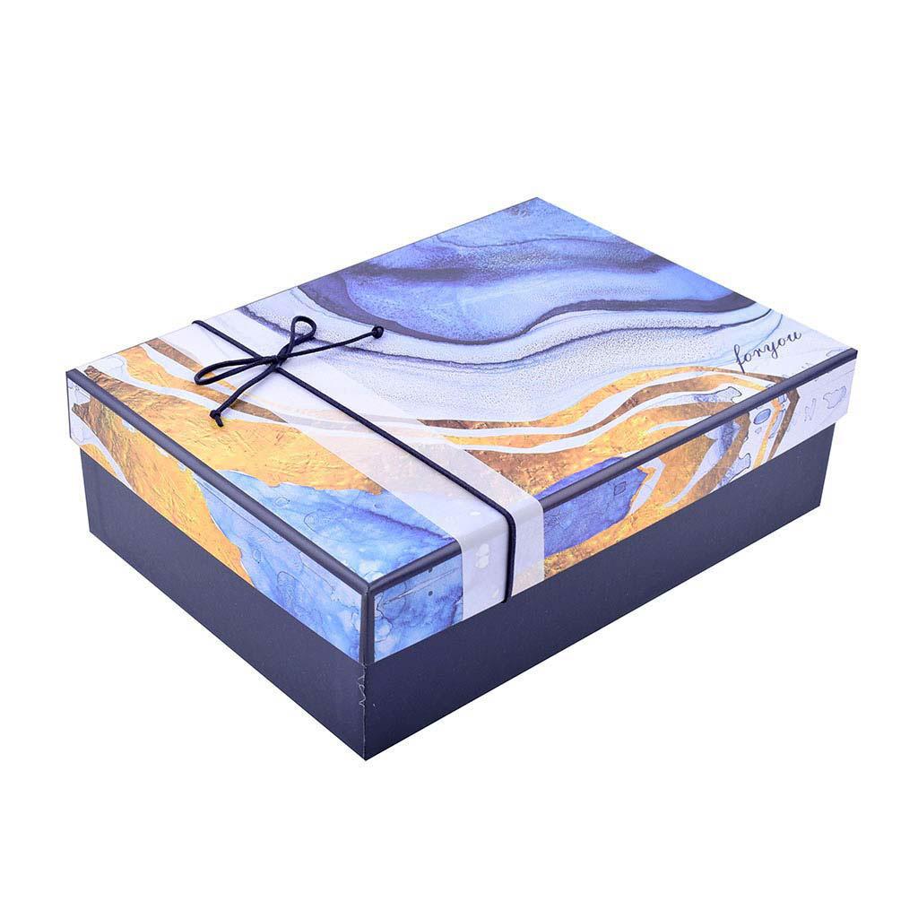 Papierová krabica 24,5x17x6,5 cm, abstrakt modro-zlatý