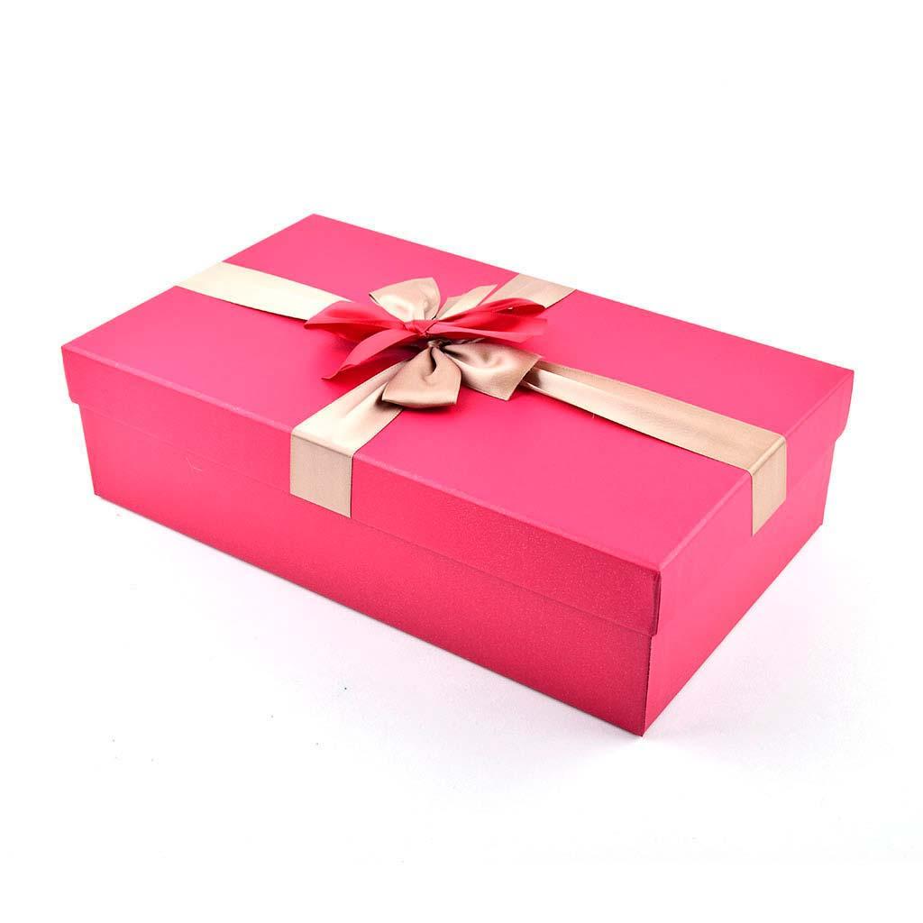Papierová krabica 34x18x9 cm, červená so zlatou mašľou