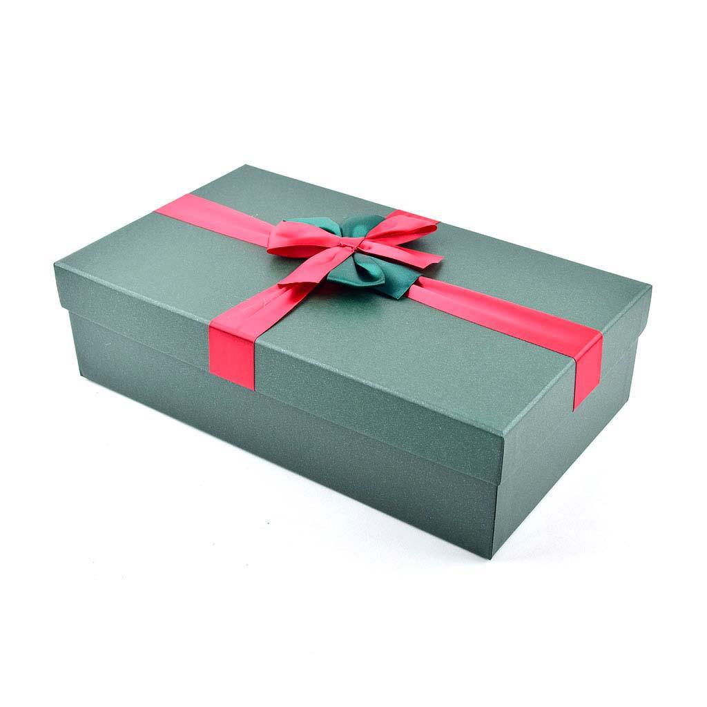 Papierová krabica 34x18x9 cm, zelená s červenou mašľou
