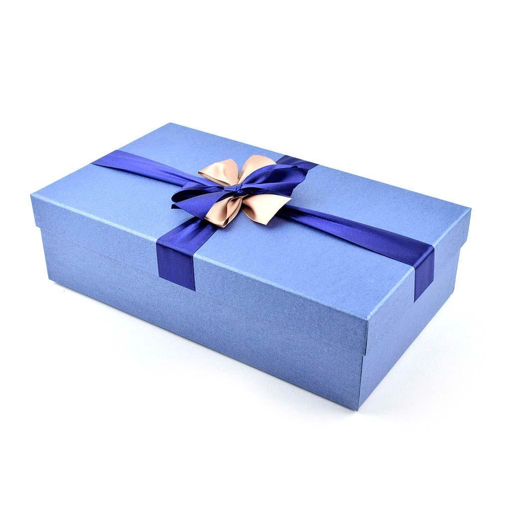 Papierová krabica 37x21,5x10 cm, modrá s mašľou