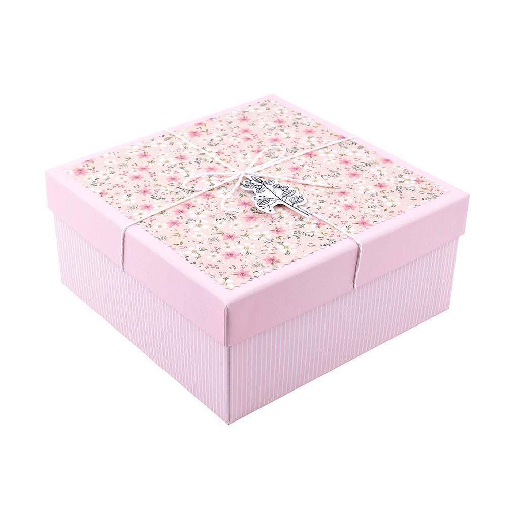 Papierová krabica 18x18x9 cm, ružová s drobnými kvietkami