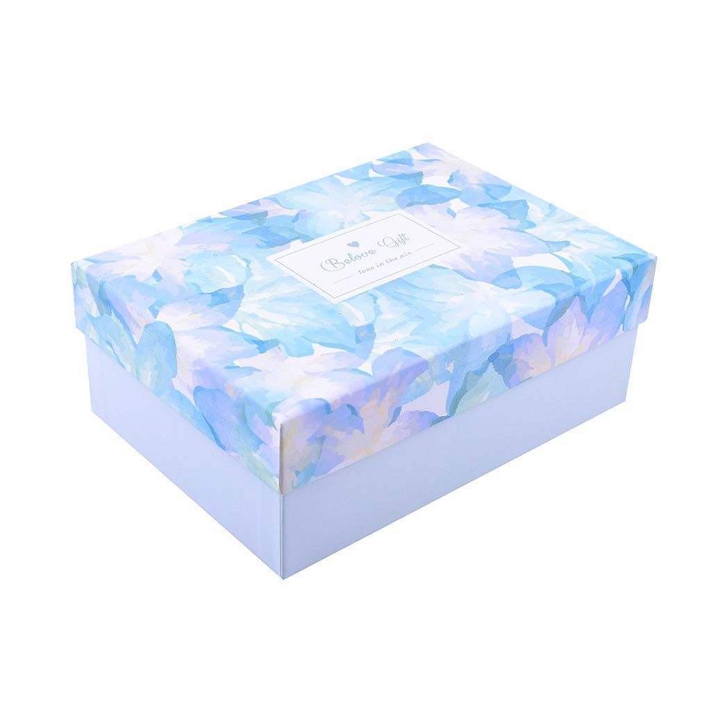 Papierová krabica 22,5x15,5x9 cm, mentolová s kvetmi